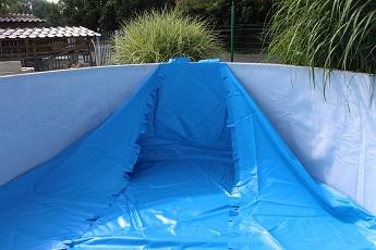 Vizualizace natažení bazénové fólie