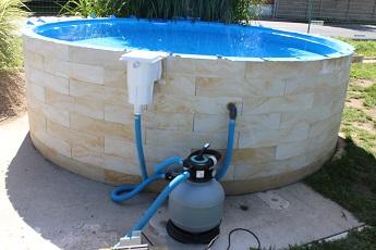 Vizualizace kruhového bazénu StoneSystem spískovou filtrací